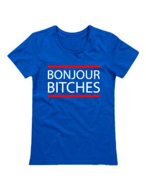 Футболка Bonjour Bitches синяя