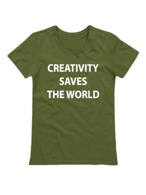 Футболка Creativity saves the world хаки