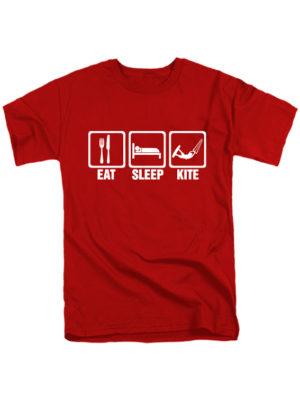 Футболка Eat-Sleep-Kite красная