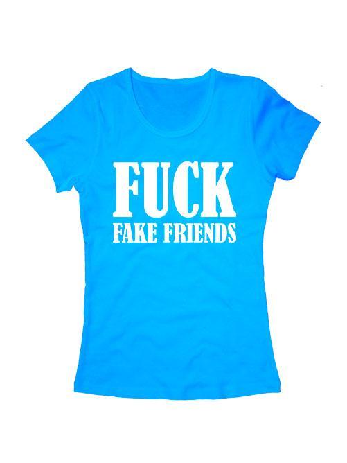 Футболка Fuck fake friends женская голубая