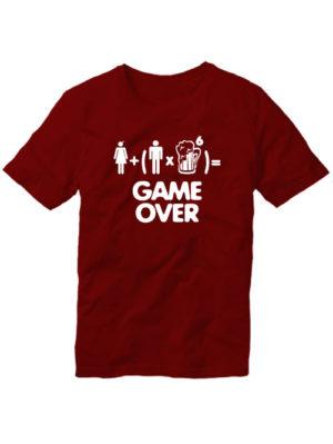 Футболка Game over мужская бордовая