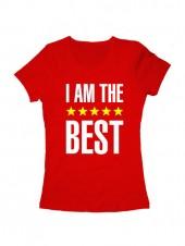 Футболка I am the best женская красная