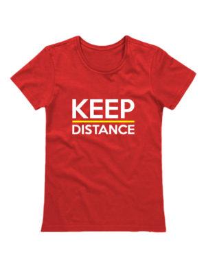 Футболка Keep Distance женская красная