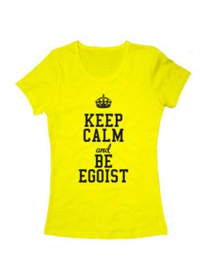 Футболка Keep calm and be egoist женская желтая
