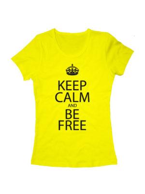 Футболка Keep calm and be free женская желтая