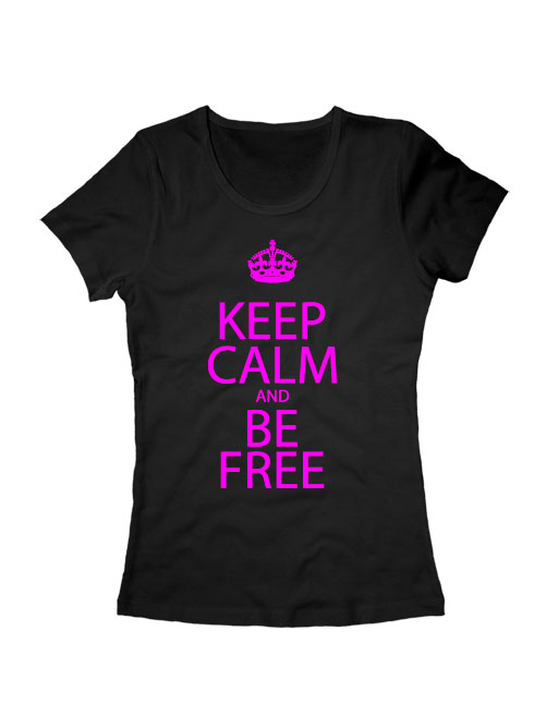 Футболка Keep calm and be free женская черная