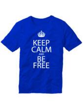 Футболка Keep calm and be free синяя