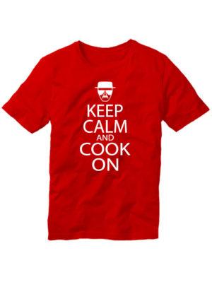 Футболка Keep calm and cook on красная
