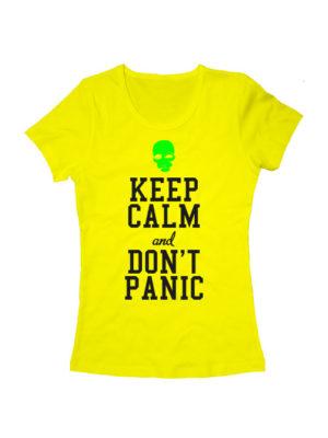 Футболка Keep calm and don't panic женская желтая