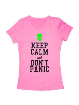 Футболка Keep calm and don't panic женская розовая