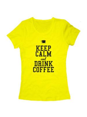 Футболка Keep calm and drink coffee женская желтая