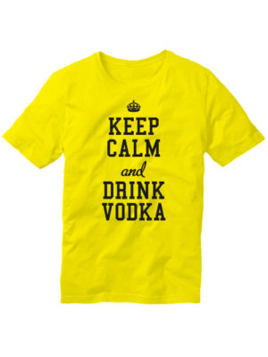 Футболка Keep calm and drink vodka желтая