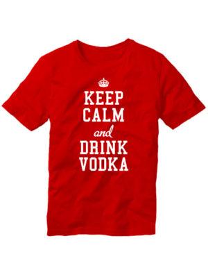 Футболка Keep calm and drink vodka красная