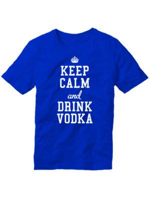 Футболка Keep calm and drink vodka синяя