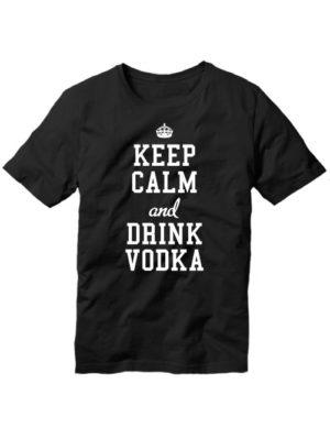 Футболка Keep calm and drink vodka черная