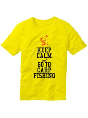 Футболка Keep calm and go to carp fishing желтая