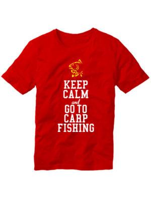 Футболка Keep calm and go to carp fishing красная