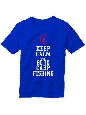 Футболка Keep calm and go to carp fishing синяя