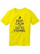 Футболка Keep calm and go to fishing желтая
