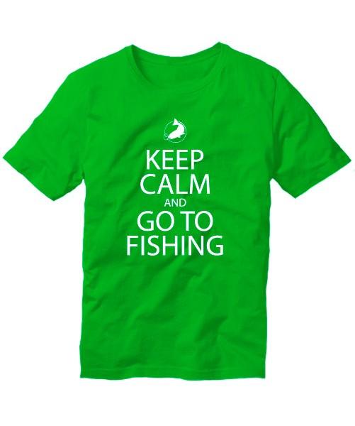 Футболка Keep calm and go to fishing зеленая