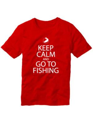 Футболка Keep calm and go to fishing красная
