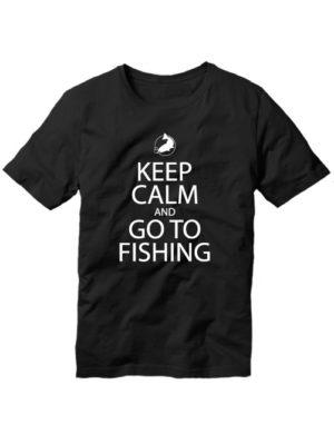 Футболка Keep calm and go to fishing черная