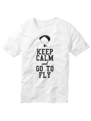 Футболка Keep calm and go to fly белая