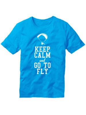 Футболка Keep calm and go to fly голубая