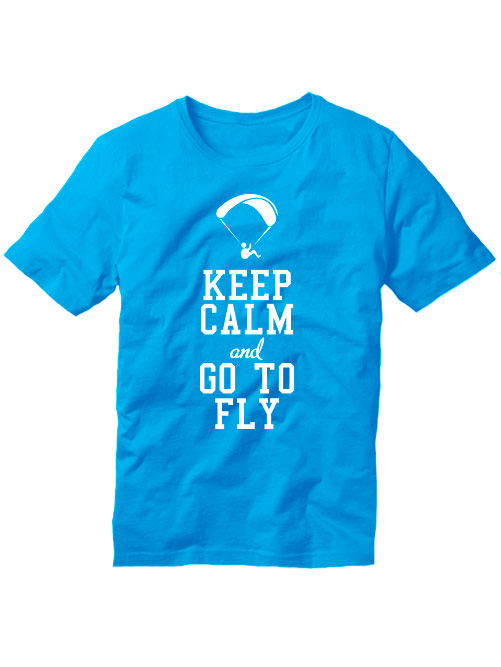 Футболка Keep calm and go to fly голубая