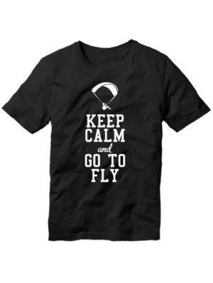 Футболка Keep calm and go to fly черная