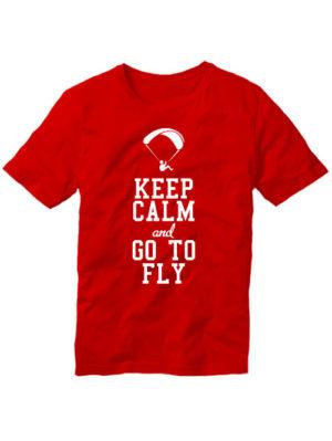 Футболка Keep calm and go to fly красная