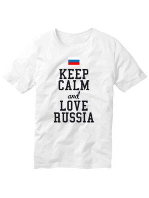 Футболка Keep calm and love Russia белая