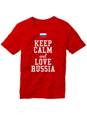 Футболка Keep calm and love Russia красная