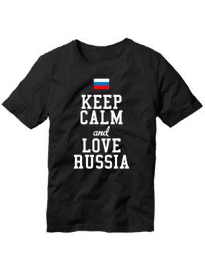 Футболка Keep calm and love Russia черная