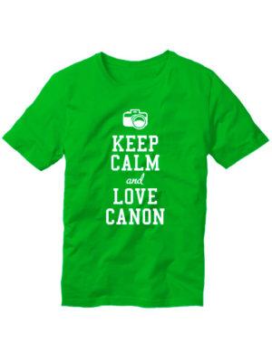 Футболка Keep calm and love canon зеленая
