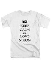 Футболка Keep calm and love nikon белая
