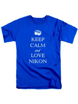 Футболка Keep calm and love nikon синяя