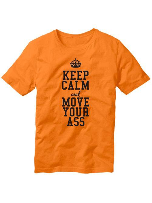 Футболка Keep calm and move your ass мужская оранжевая