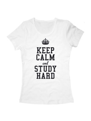 Футболка Keep calm and study hard женская белая