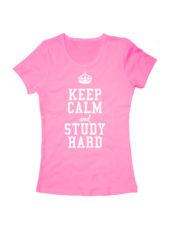 Футболка Keep calm and study hard женская розовая