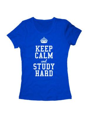 Футболка Keep calm and study hard женская синяя