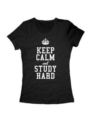 Футболка Keep calm and study hard женская черная