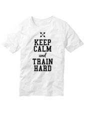 Футболка Keep calm and train hard белая