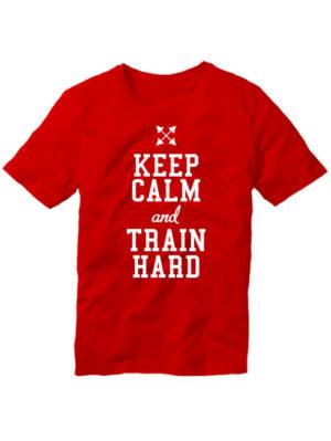 Футболка Keep calm and train hard красная