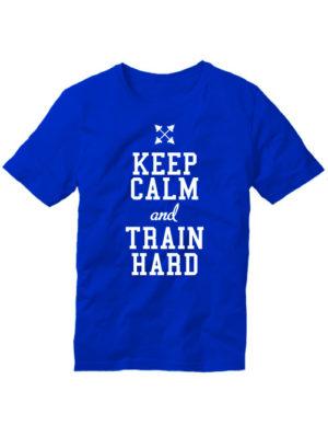 Футболка Keep calm and train hard синяя