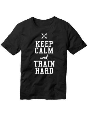 Футболка Keep calm and train hard черная
