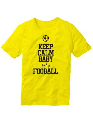 Футболка Keep calm baby it's football желтая