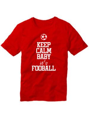 Футболка Keep calm baby it's football красная