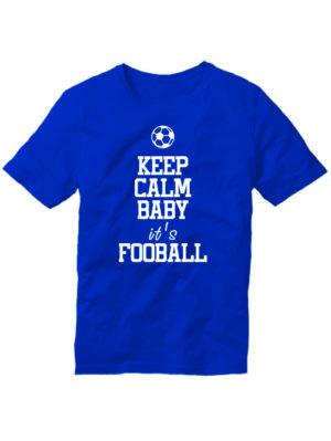 Футболка Keep calm baby it's football синяя