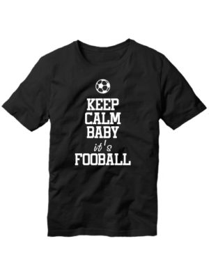 Футболка Keep calm baby it's football черная